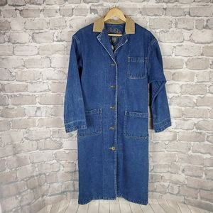 Vintage Lee Jean Duster Cord Collar Blue Small